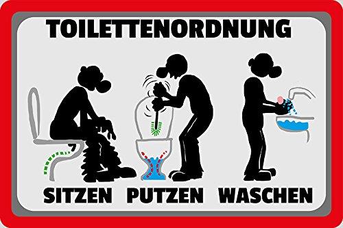 Schatzmix Toilettenordnung - sitzen putzen waschen klo-Ordnung, Toilette spruchschild, lustig, blechschild, Comic