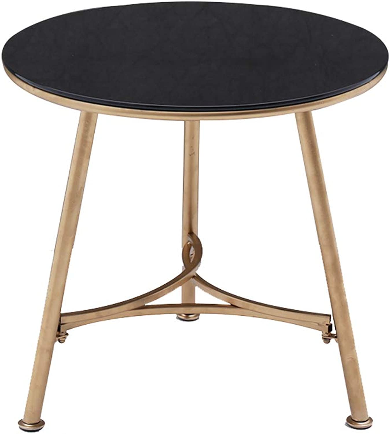 Dekea Coffee Table with Round Marble Top Accent Round Side End Tables with Metal Box Frame for Living Room, Black gold