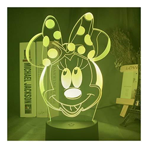 3D-LED-Nachttischlampe Minnie Mouse Kopf Nacht For Mädchen Schlafzimmer-Dekor-Noten-Sensor Farbe Verändert USB-LED-Nachtlicht (Color : 16 color with remote)