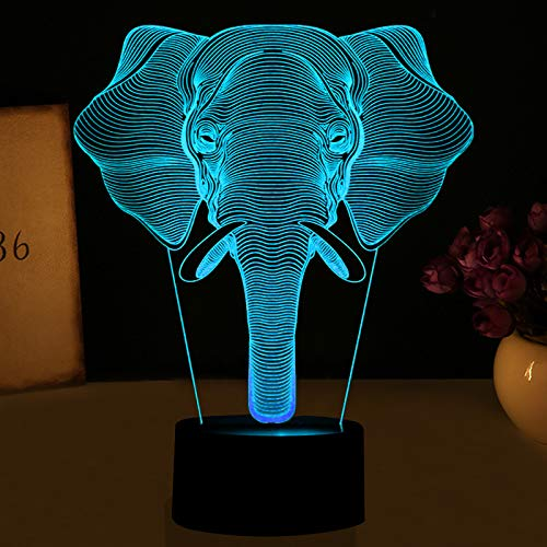 KangYD Patrón de elefante de luz nocturna 3D, lámpara de ilusión óptica LED, F - Base de audio Bluetooth (5 colores), Lámpara de escritorio, Luces decorativas