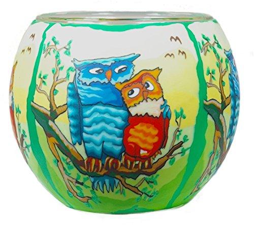 Himmlische Düfte Geschenkartikel GmbH Owls by Day Windlicht, Glas, bunt, 11x11x9 cm