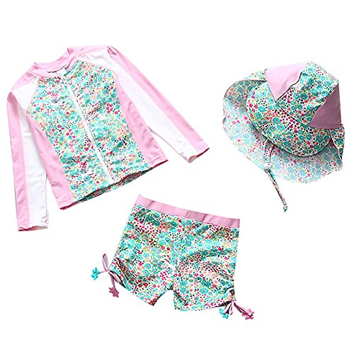 Collager Baby/Toddler Girls Long Sleeve Swimsuit Kids Two Pieces Rash Guard Sunsuit with Hat UPF 50+ UV (1-6Years) Green
