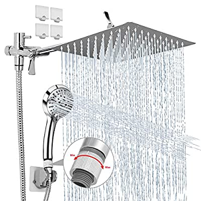 Shower Head, 8''High Pressure Rainfall Shower Head,Handheld Shower Combo with 11'' Extension Arm,9 Settings Adjustable Anti-leak Shower Head with Holder,6.5FT Stainless Steel Hose,4 Shower Hooks