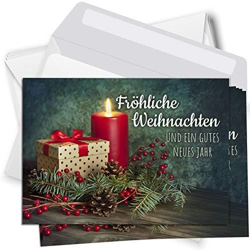 15 Weihnachtskarten Set mit Umschlag Grußkarten Weihnachten Postkarten Format Weihnachtspostkarte Kerzen