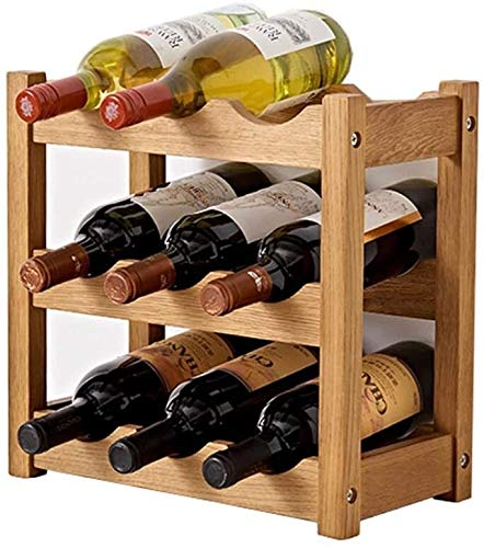 JJ0226 Tabletop Wine Storage Rack Soporte de almacenamiento Mesa de almacenamiento Libre de pie Racks de madera rústico Rosques Plegable Madera Estante de vino Encimera decoración Organizador Color de