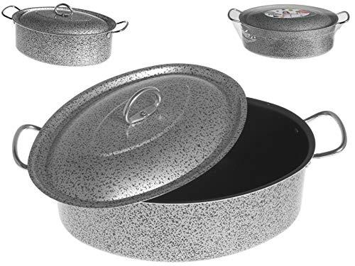 Home Salt N'Pepper Casseruola Ovale in Alluminio, Rivestimento Antiaderente, 32 cm