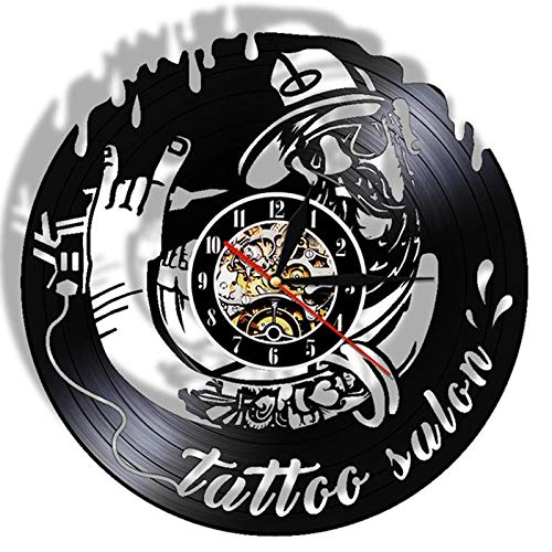 LKJHGU Estudio de Tatuajes Pared de Registro de Vinilo Diseño Moderno Salón de Tatuajes Tienda Signo de Pared Decoración 3D Reloj de Vinilo Reloj de Pared Sala de Estar Decoración del Dormitorio