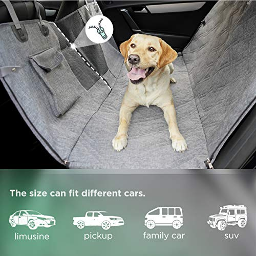 LIFEFAIR Dog Car Seat Cover, Dog Seat Cover with Mesh Window and Side Flaps, Scratch Proof Non Slip Dog Car Hammock, Car Seat Covers for Dogs, Dog Backseat Cover for Cars Trucks SUV