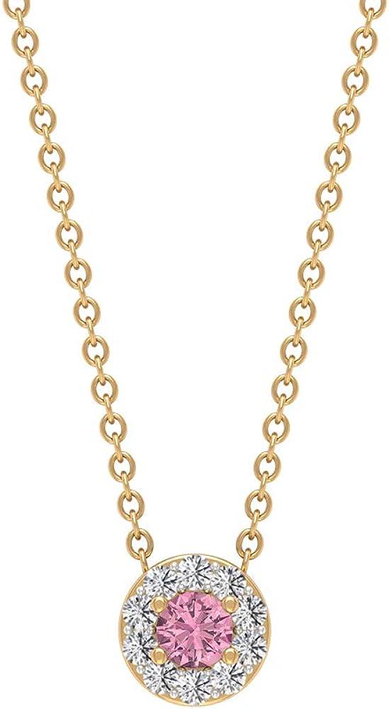 Solitaire Pendant, 1/4 CT Round Gemstones, HI-SI Diamond 3 MM Tourmaline Necklace, Gold Halo Pendant, Promise Pendant, Minimalist Stackable Jewelry