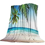 Funy Decor Beach Themed Throw Blanket Palms Tree Ocean Sunshine Tropical Sea Super Soft Cozy Flannel Bed Blankets Decorative for Sofa Couch Chair Bedroom, 60x80 inch