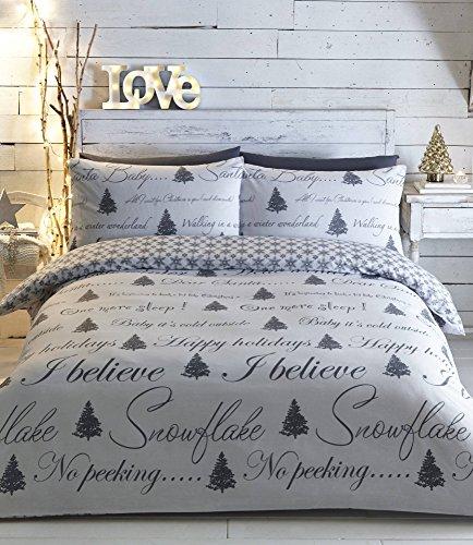 Weihnachtsbaum Einzelbett Bettbezug & 1Kissenbezug Bettwäsche-Set grau weiß Weihnachts Erwachsene
