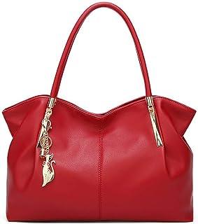 Fanspack Ladies Tote Big Capacity Pure Color All-Match Shoulder Purse Handbag Handle Bag
