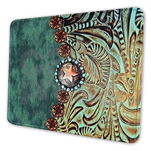 Country Western Turquoise Gaming Mouse Pad Square Waterproof Mouse Mat with Non-Slip Rubber Base for Office Home Laptop Travel