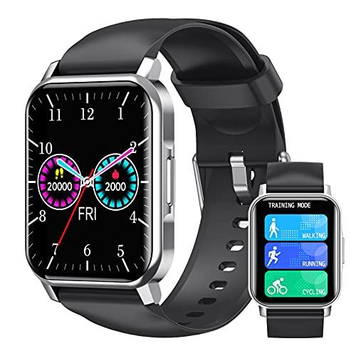 Smartwatch 1.72' Táctil Completa Reloj Inteligente Deportivo Hombre Mujer Niños, Impermeable IP67 Pulsera Actividad Inteligente Con Pulsómetro,Monitor De Sueño,Cronómetros,Calorías,Podómetro,Plata