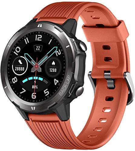 Reloj inteligente con monitor de sueño de presión arterial y ritmo cardíaco para hombres y mujeres, pantalla táctil, 12 modos deportivos, resistente al agua, con podómetro para Androi-Orange