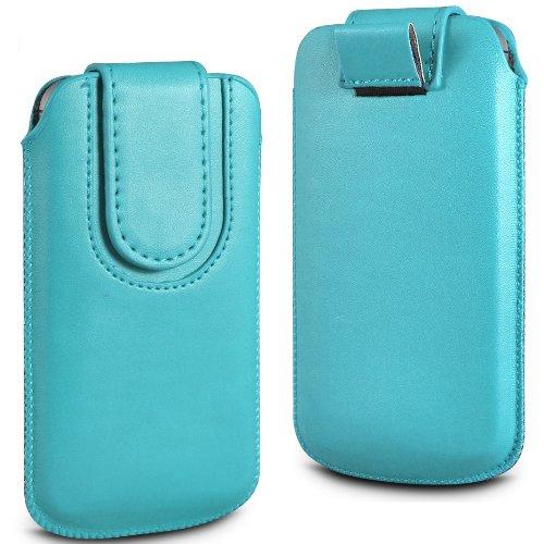 N4U Online Blau Premium-PU-Leder Pull Tab Flip Tasche für Blackberry Q5 mit magnetischem Verschluss Strap