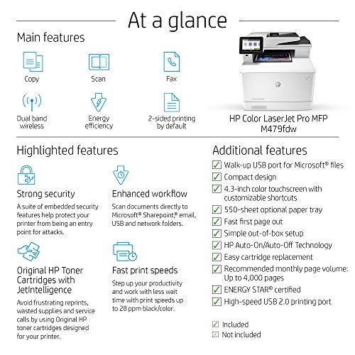 HP Color LaserJet Pro Multifunction M479fdw Wireless Laser Printer with One-Year, Next-Business Day, Onsite Warranty, Works with Alexa (W1A80A) Photo #6