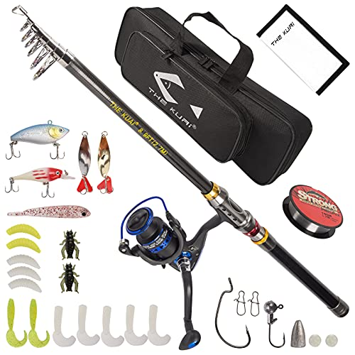 Thekuai Fishing Rod and Reel Combos Carbon Fiber Telescopic Fishing Pole with Reel Combo Sea Saltwater Freshwater Kit. Best Gift for Father, Husband, Beginner, Man and Women