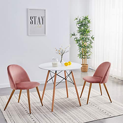 Symylife Dining Chairs Set of 2, Fashion Kitchen Room Chair Upholstered Velvet Chairs Leisure Side Chairs with Metal Legs, Rose