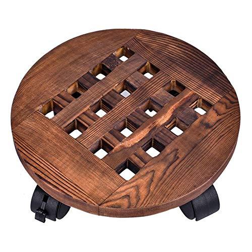 TCross Bandeja extraíble para macetas de madera de 25 cm, base de soporte para plantas, placa de movimiento con ruedas, suministros de jardinería (color como se muestra)