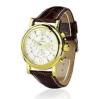 Orkina (オルキナ) クロノグラフ 石英 ホワイト ダイアル 男性用 革バンド ステンレス鋼の腕時計 ORK-0047 (並行輸入品)