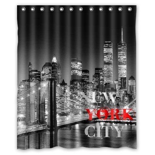 CHATAE New York City 60 (W) X72 (H) Pouces Salle de Bain étanche Rideau de Douche Rideau de Douche