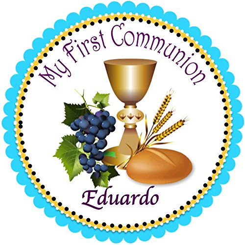 40 Round Labels 2' First Communion Personalized Easter Stickers, Christening Custom Hang tags, Holy Communion Labels, Party Favors-Choice Of Size