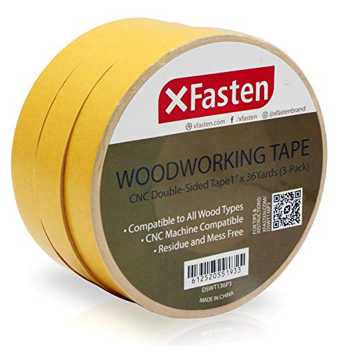 XFasten Double Sided Woodworking Tape, 1-Inch by 36-Yards, 3-Pack - Double Face Woodworker Turner