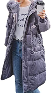 Macondoo Womens Winter Thick Faux Fur Hood Corduroy Down Parka Jacket Coat
