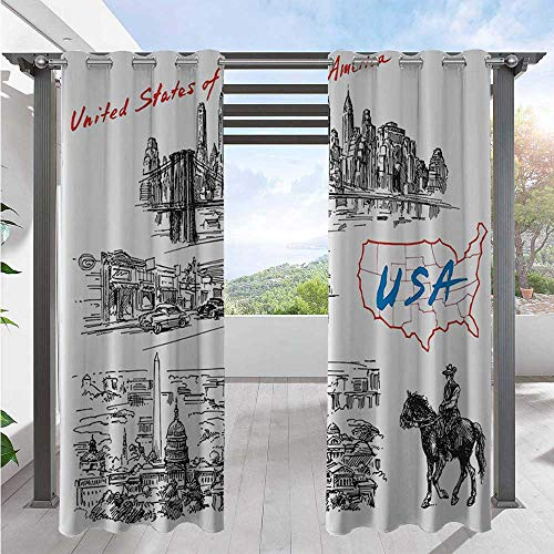 Outdoor Patio Curtains Hand Drawn Usa Map And Nostalgic Landscapes Skyscrapers Cowboy With Horse Metropolis Indoor/Outdoor Cabana Curtain Great for Outdoor Pergola Or Cabana Black White W84 x L96 Inch