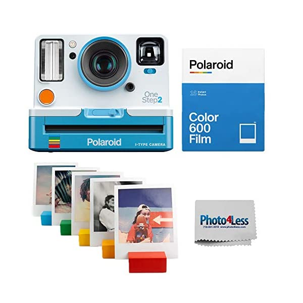 Polaroid OneStep 2 VF Summer Blue Instant Camera | Polaroid Color Film for 600 Double Pack | Polaroid Photo Stand – Rainbow | Cloth