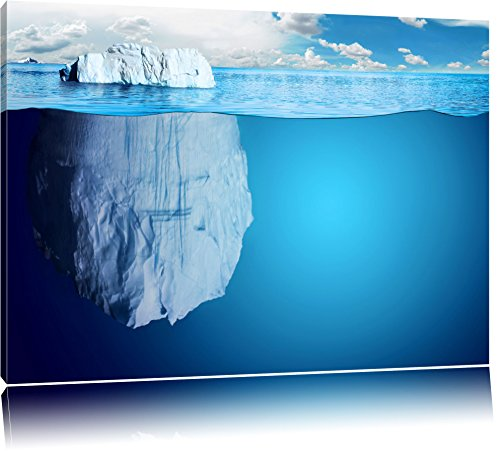 Riesiger Eisberg unter Wasser Format: 120x80 auf Leinwand, XXL riesige Bilder fertig gerahmt mit Keilrahmen, Kunstdruck auf Wandbild mit Rahmen, günstiger als Gemälde oder Ölbild, kein Poster oder Plakat