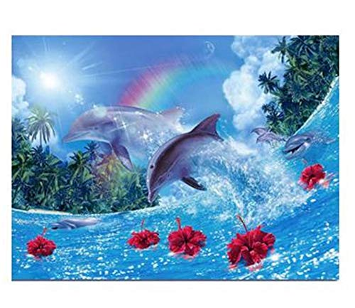 DIY 5D Diamond Painting by Number Kits Dolphin Square Drill,40x30cm Adults and Kids Full Drill Crystal Resin Rhinestone Embroidery Cross Stitch Pictures Arts Craft Canvas for Home Wall Decor Y4721