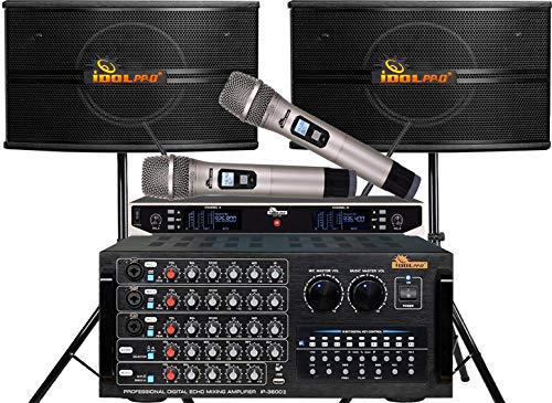 Great Price! Home karaoke package IDOLpro 1300W Karaoke System With Dual Speakers, Dual High Tech Wi...