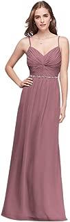 Twist Bodice Chiffon Bridesmaid Dress with Beaded Belt Style W11147