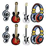 EXCEART 8 Piezas Auriculares Nota Musical Guitarra Bordado Parche Amantes de La Música Aplique Coser Hierro en Parche Accesorios de Ropa