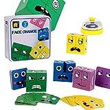 Joyivike Cubos Mágicos Wooden Magic Cube Building Blocks Face, Puzzle Iq Puzzler Building Cubes Em-oji, Juego De Interacción De Madera para Niños De Entrenamiento