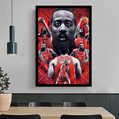 BGFDV Baloncesto Estrella n. ° 13 James Harden Cartel Fresco Papel Tapiz Lienzo decoración del hogar Pintura