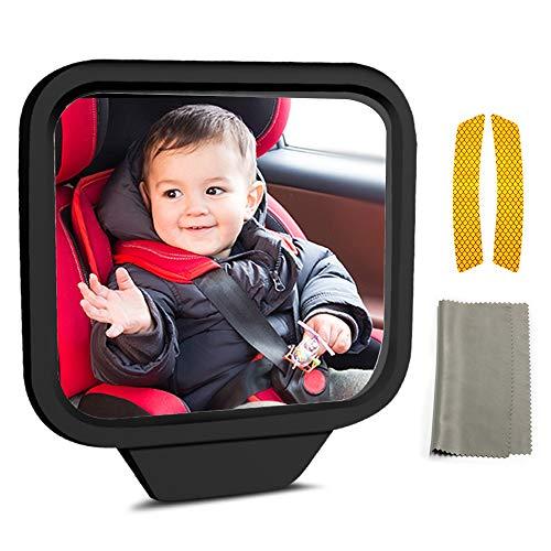 LandJoy achteruitkijkspiegel voor auto, baby, extra spiegel, binnenspiegel, dode hoekspiegel, autospiegel, zelfklevend, 270° zichthoek, 360 ° draaibaar