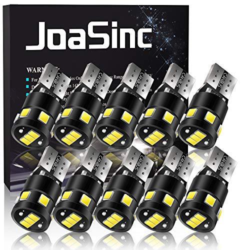 JoaSinc 10 x Lampadine T10 LED Canbus W5W 501 194 168 LED Auto Targa Lampadina 9SMD 2835 6000K Cuneo Tipo Lampade per Luci di posizione cruscotto Piastra Lampada Gioca Car interno 12V Bianco