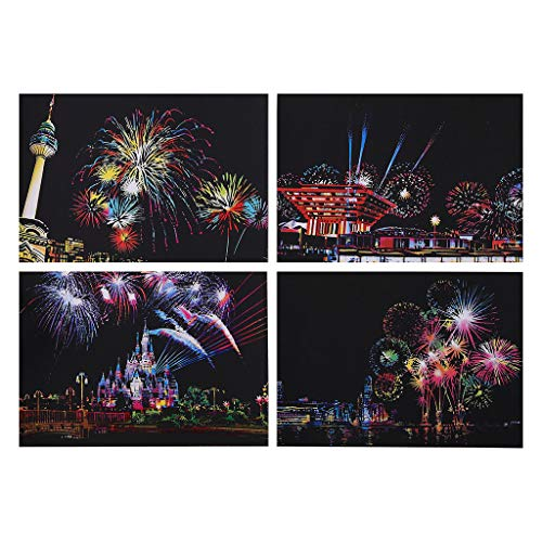 ErYao Scratch Art Rainbow Painting Paper, Sketch Pad DIY Night View Scratchboard for Kids & Adults,Scratch Painting Creative Gift (B)