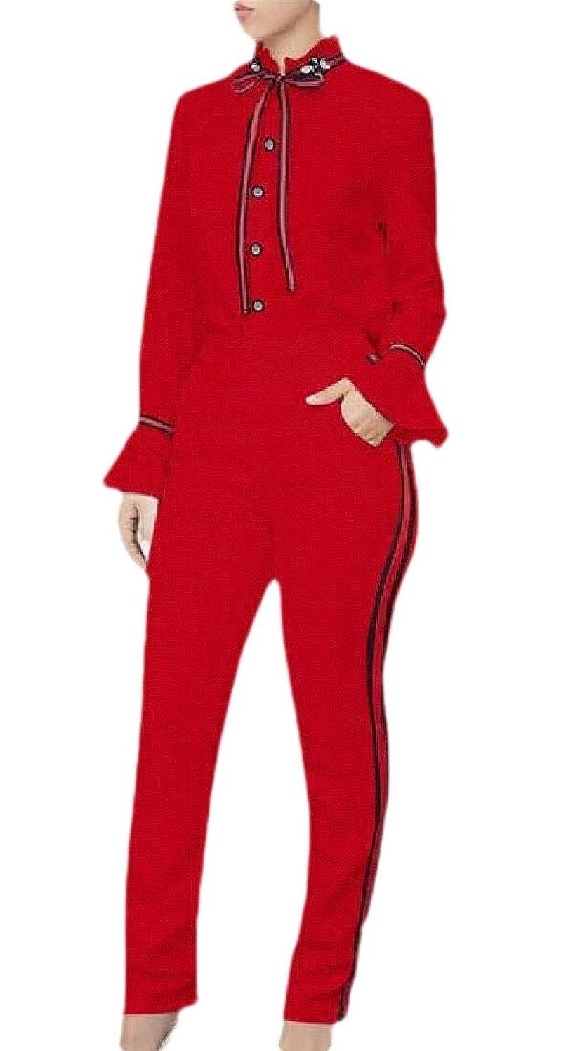 ライフル孤独なケントWomen Button Down Ruffle Sleeve Shirt And Pants Formal Work 2 Pieces Suit Set