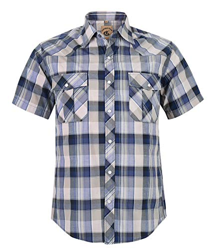 Coevals Club Men's Western Cowboy Short Sleeve Pearl Snap Casual Plaid Work Shirts (Blue & Light Gray #13 L)