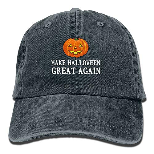 leyhjai 2017 Funny Pumpkin Make Halloween Great Again Washed Retro Adjustable Jean Cap Trucker Cap for Man and Woman