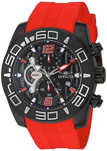 Invicta Men's Pro Diver 50mm Stainless Steel and Red Silicone Chronograph Quartz Watch , Red (Model: 22810)