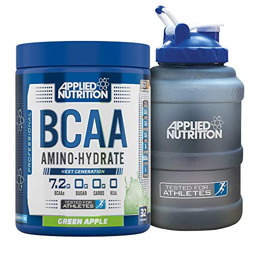 Applied Nutrition Bundle: BCAA Amino Hydrate Powder 450g + 2.5 LTR Water Jug | Branched Chain Amino Acids Supplement with Electrolytes, B Vitamins, Intra Workout & Recovery Drink (Green Apple)