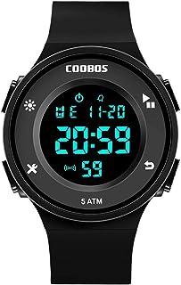 Men's Digital Watch with LED Light Waterproof Outdoor Electronic Wristwatch for Men & Women