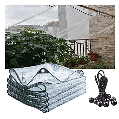 SHIJINHAO Covers & All Clear Tarps In Multiple Sizes 0.3mm Waterproof Tarpaulin-100% UV & Weather Resistant Vinyl Coated PVC Tarps-Perfect For Curtains, 28 Sizes (Color : Clear, Size : 4x4m)