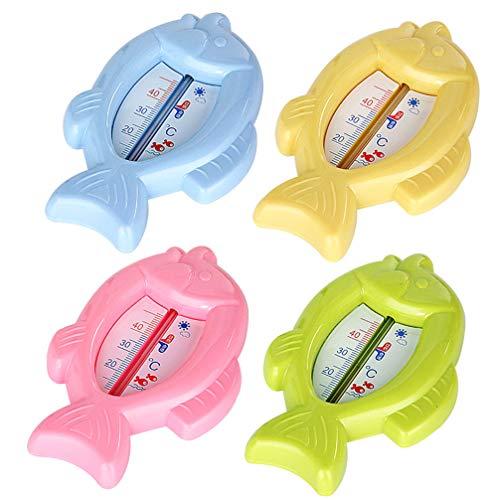 Hemobllo 4 Stuks Zwembadthermometer - Babybadthermometer en Drijvend Badspeelgoed Bad- en Zwembadthermometer (Visvorm)