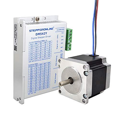STEPPERONLINE 1 eje Motor paso a paso CNC Kit 1.26Nm 2.8A Nema 23 Motor paso a paso & Motor paso controlador 1.0-4.2A DC20V-50V para máquina de grabado CNC, impresora 3D